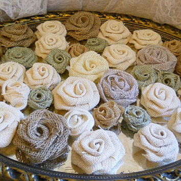 Bulk SALE, Lot of 35 Burlap Flowers, natural tones for diy weddings, cake topper flowers, bouquet making, wedding decor. Ready to Ship!