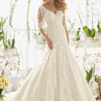 Lace Wedding Dress with Appliques on Net | Style 2812 | Morilee