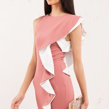 Color Block Ruffle Midi Dress in Pink