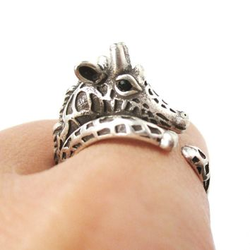 Detailed Giraffe Shaped Spotted Animal Wrap Ring in Silver | US Sizes 4 to 8.5