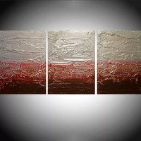 """ARTFINDER: triptych 3 panel wall decor sculpture art """" Strawberry Silver """" acrylic three part impasto effect 3 panel metallic silver on canvas wall abstract 54 x 24"""" by Stuart Wright - """" Strawberry Silver """" extra large triptych 3 pi..."""