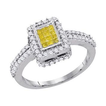 10KT Ladies White Gold Canary Yellow Diamond Invisible Set Bridal Ring 0.88CTW