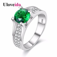 Uloveido Silver Color Engagement Ring Female Green Crystal Wedding Rings for Women Anel Anillos Mujer Bijoux Titanium Joias Y006