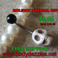 White Skull belly Button Navel Ring Body Jewelry 14ga