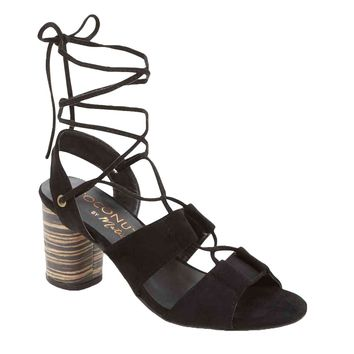 Coconuts by Matisse City Black Ankle Wrap Heels