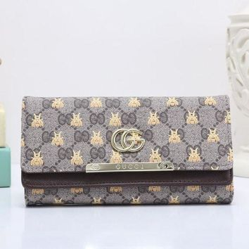 DCCK GUCCI Bee Women Fashion Embroidery Leather Buckle Wallet Purse1