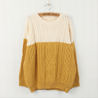 Spell color loose knit sweater  T31653