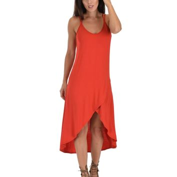 Lyss Loo All Wrapped Up Strappy Rust Wrap Dress