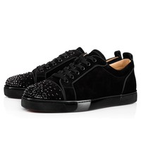 Louis Junior Degra Flat Black Strass - Men Shoes - Christian Louboutin