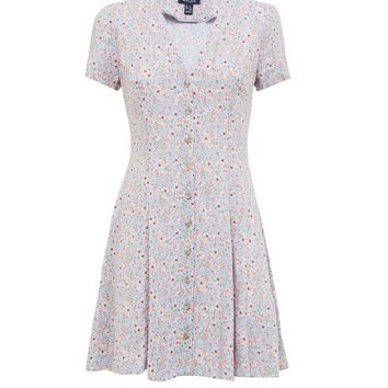 Pale Blue Ditsy Floral Button Front Tea Dress | New Look