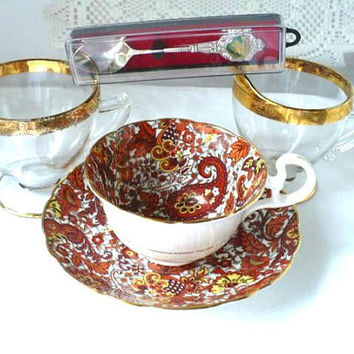 Fall Gift For Daughter, Radford Tea Cup and Saucer, Gift For Daughter, Orange Red Yellow Leaf Tea Cup, Made In England