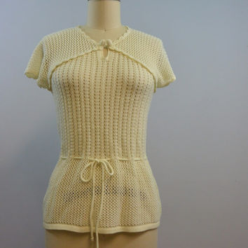 Vintage Short Sleeve Sweater Knit Top Size Small by Sweater Bee By Banff LTD