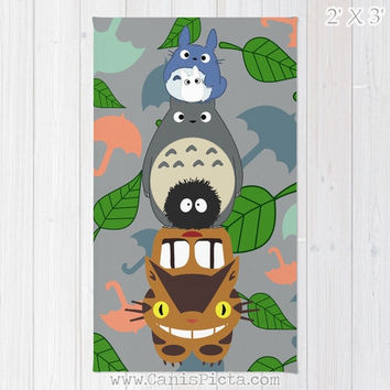 Totoro Kawaii My Neighbor RUG Home Decor Accent Decorative Kid Gift For Her Grey Anime Grey Manga Troll Hayao Miyazaki Studio Ghibli Catbus