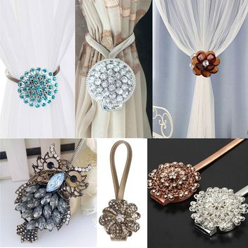 1pc New Home Accessories Flower Crystal Magnetic Curtain Tieback Buckle Holder Magnet Window Strap