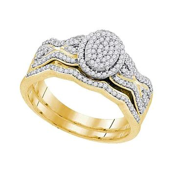 10kt Yellow Gold Womens Round Diamond Oval Cluster Bridal Wedding Engagement Ring Band Set 3/8 Cttw