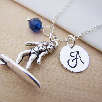 Surfer / Surfing Charm Swarovski Birthstone Initial Personalized Sterling Silver Necklace / Gift for Her