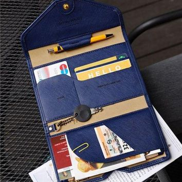 ONETOW BILLTERA Women leather travel passport wallet folder men multi-purpose waterproof document cards wallets holders