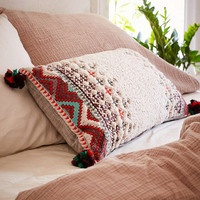 Naya Sherpa Embroidered Bolster Pillow - Urban Outfitters