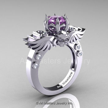 Art Masters Classic Winged Skull 14K White Gold 1.0 Ct Lilac Amethyst Diamond Solitaire Engagement Ring R613-14KWGDLAM