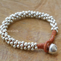 Silver bracelets, Handmade bracelets, Silver beaded, Bell bracelets, Gift for girls, Brown bracelets