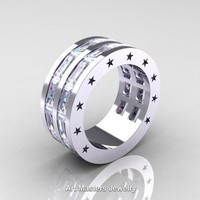 Mens Modern 14K White Gold Baguette White Sapphire Channel Cluster Star Infinity Wedding Ring R784-14KWGWS
