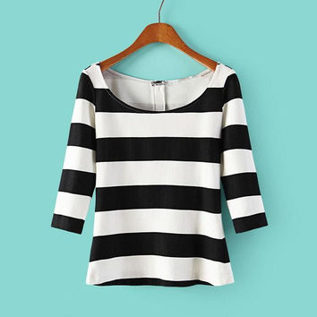 Women's Fashion Classics Stripes Round-neck Half-sleeve Slim Tops Hoodies [6047388737]