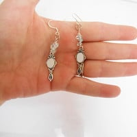 Once Upon A time Fairytale snow White Aquamarine mirrored dangle drop earrings