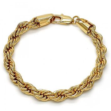 Gold Tone Basic Bracelet, Rope Design, Gold Tone