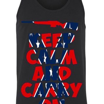 Men's Confederate Rebel Flag Tank Top Keep Calm And Carry On