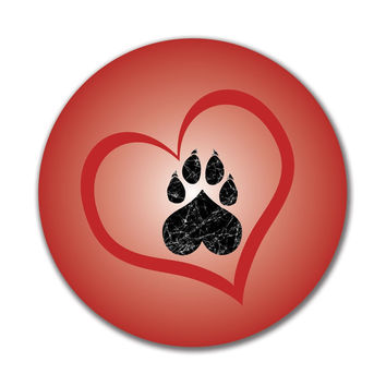 Valentines Day Paw Print Heart Cat 4x4in. Round Decal Sticker