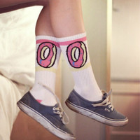 New fashion Men women Hiphop  Socks donuts graphic cotton Long