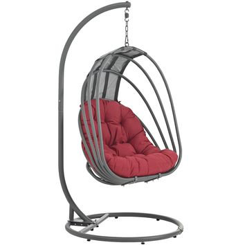 Whisk Outdoor Patio  Swing Chair With Stand Red EEI-2275-RED-SET