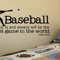 "LARGE 20"" X 42"" Baseball Babe Ruth quote for little boys' rooms Vinyl Wall Art Decal"