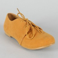 Sue-1 Lace Up Round Toe Oxford Flat