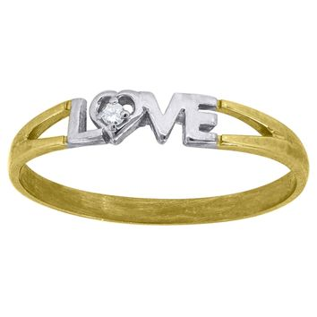 Round Cut CZ Love Promise Ring in 10k Yellow & White Gold