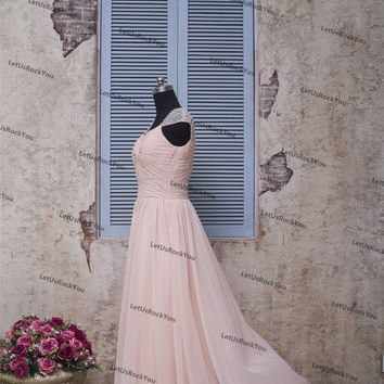 6db21d9e3ce Beaded Two Shoulder Pink Long Prom Party Dresses prom dresses prom dress  bridesmaid