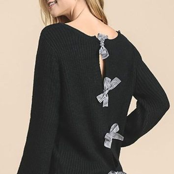 Gingham & Bows Black Sweater - FINAL SALE