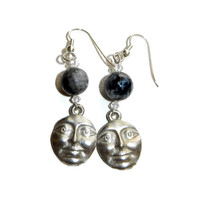 Silver Moon Face Earrings with Crystal and Agate Black and Grey Beads