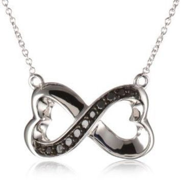 """Sterling Silver Black Diamond Infinity Heart Necklace (1/10 cttw), 16"""""""