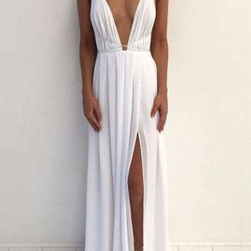 Sexy Halter Deep V Plunge Cross Maxi Dress