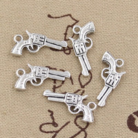 99Cents 12pcs Charms pistol gun 22*12mm Antique Making pendant fit,Vintage Tibetan Silver,DIY bracelet necklace