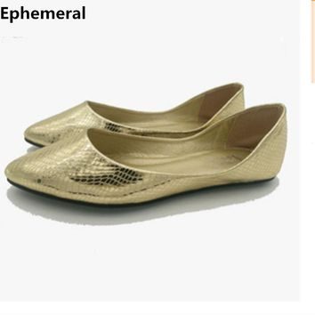 Ladies loafers shoes gold silver plus size feminino 14 15 pointed toe ballet flats slip-ons women summer fashion for driving