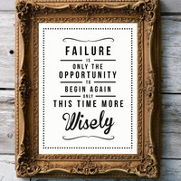 Retro Quote Giclee Art Print  'Failure' by RockTheCustardPrints