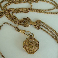 Signed Goldette 3-Strand Locket Necklace Ornate Clasp Curb Link Greek Style Chains Vintage Jewelry