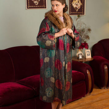 RESERVED ON LAYAWAY Vintage 1920s Coat - Opulent Jewel Toned Floral Lamé 20s Cocoon Coat with Lavish Raccoon Fur Shawl Collar
