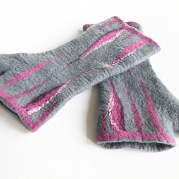 Felted mittens , Hand felted fingerless mittens, felted long gloves, felted wirst warmers, pink gray gloves,  mittens