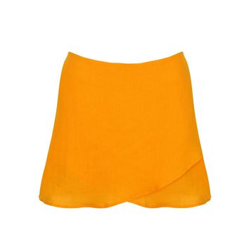 Orange Linen Short Skirt