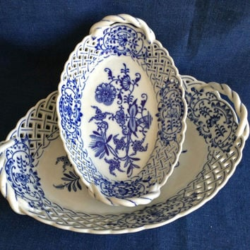 Pair of Blue and White dishes from Czechoslovakia, Onion Pattern, MINT, Pierced, Made in Czechoslovakia