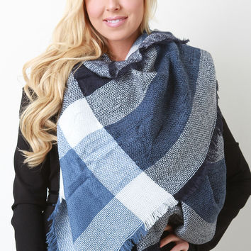 Fringe Hem Large Scale Plaid Blanket Scarf