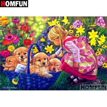 5D Diamond Painting Blue Basket of Puppies Kit